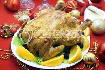 Курица запеченная с апельсинами